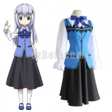 New! Anime Is The Order a Rabbit GochiUsa Chino Kafuu Cafe Waitress Suit Cosplay Costume