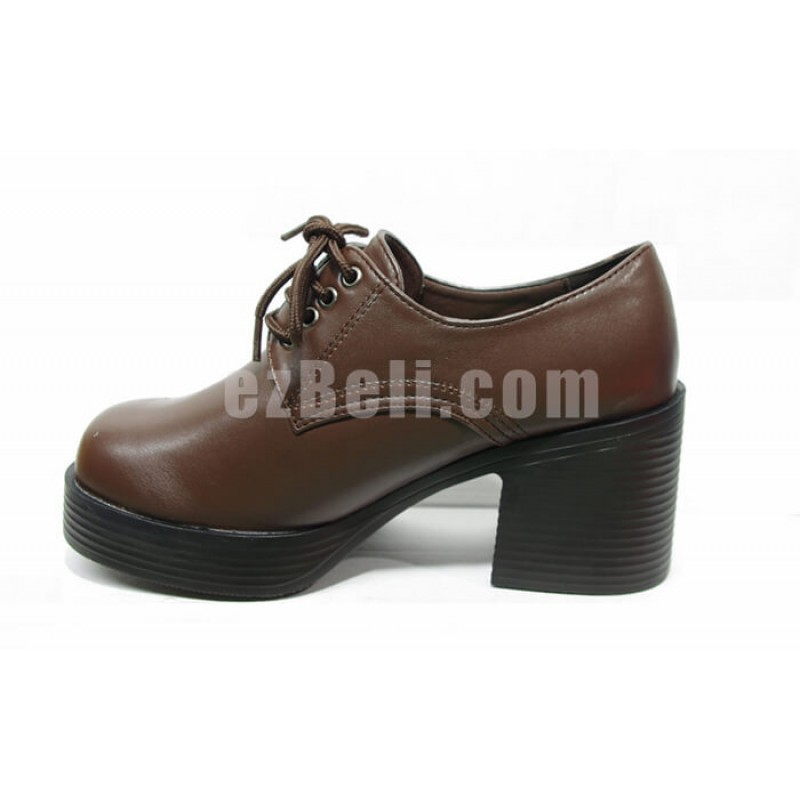 New! M04 Student Brown Thick Heel Shoes with Shoes Lace Japanese School Cosplay Shoes