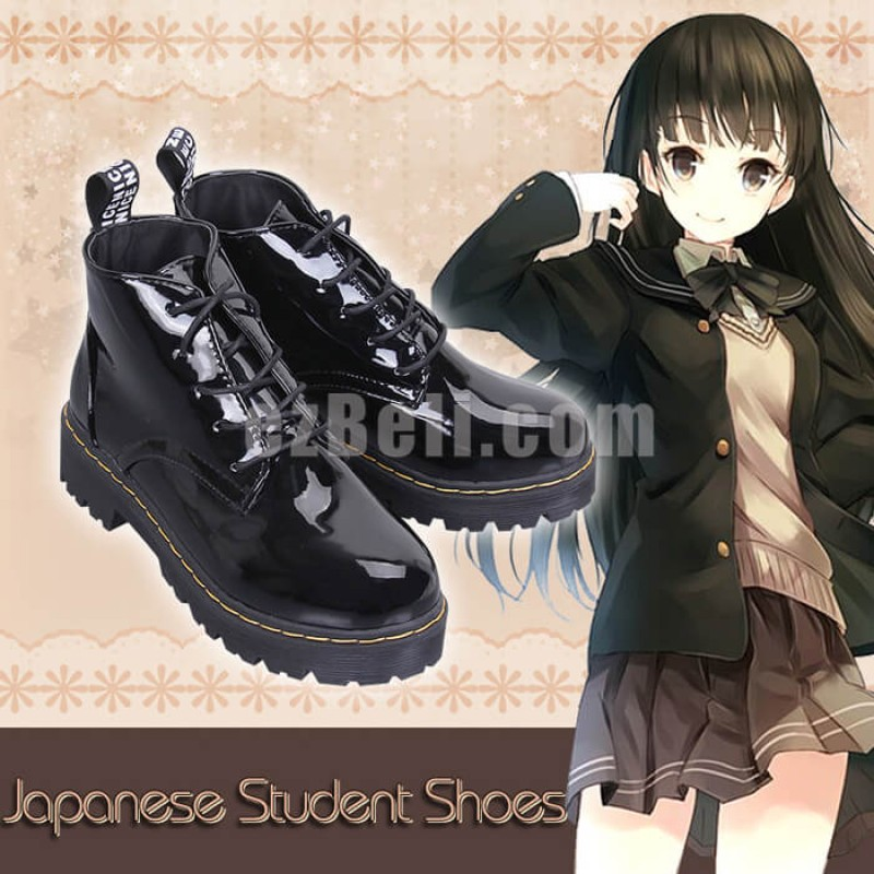 New! Japanese Student Metallic Black Shoes Japanese School Cosplay Shoes
