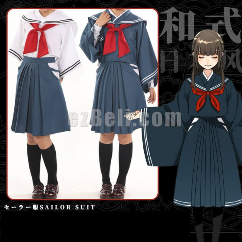 New! Japanese Kimono-Sleeved Sailor School Uniform Cosplay Costume