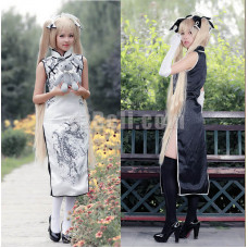 New! Yosuga no Sora Kasugano Sora Cheongsam with Glove and Headwear Cosplay Costumes