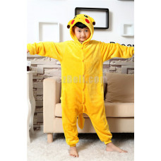 New! Coral Fleece Kid Cartoon Pikachu Pokémon Kigurumi Pajamas Pyjamas Costume Cosplay