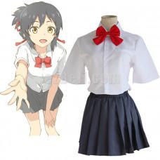 New! Kimi no Na Wa Mitsuha Miyamizu School Uniform Cosplay Costume