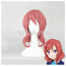 New! Love Live! Maki Nishikino Pink Short Wavy Cosplay Wig