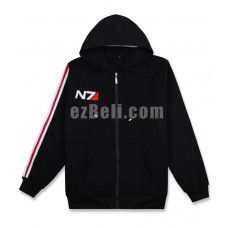 New! Game Mass Effect N7 Black Hoodie Casual Cosplay Costume