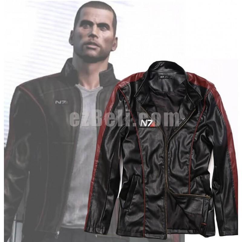 New! Game Mass Effect N7 Captain Shepard PU Leather Biker Jacket Coat Cosplay Costume