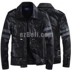 New! Resident Evil Leon S. Kennedy Leather Black Brown Long Sleeves Cosplay Jacket