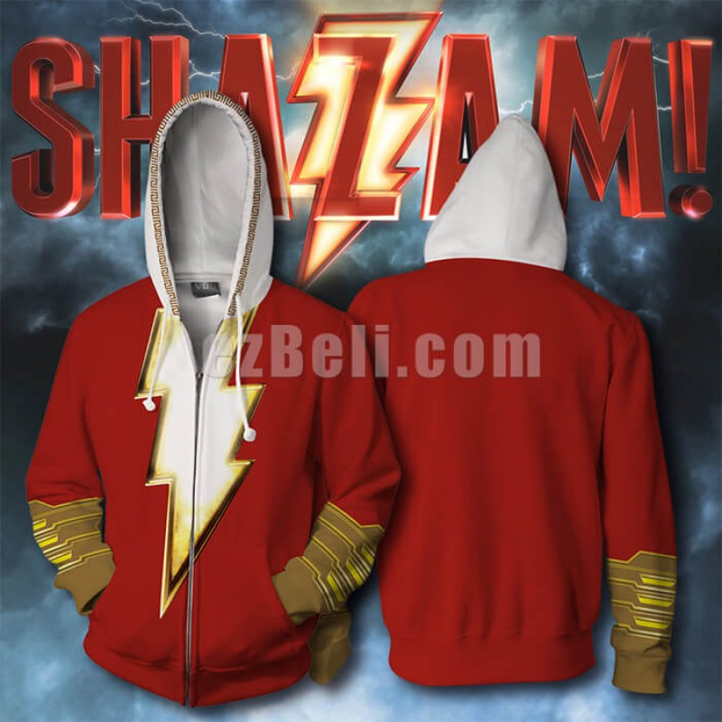 New! Movie Shazam Billy Batson Costume Zipper Hip Hop Casual Hoodie Jacket