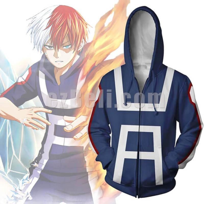 New! Anime My Hero Academia Boku no Hero Izuku Midoriya Katsuki Todoroki Gym Zip Up Hoodie Casual Cosplay Jacket
