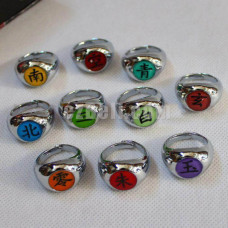 New! Naruto Rings Akatsuki Cosplay Member's Ring Set