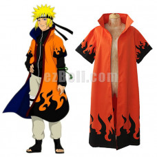 New! Naruto Shippuden Uzumaki Naruto 6th Hokage Cloak Cosplay Costume