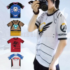 New! Game Overwatch D.VA Tracer Mccree Soldier76 Angel Short Sleeves T-shirt