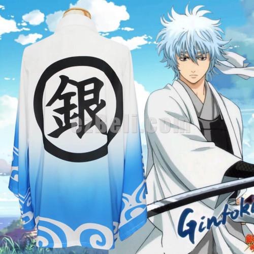 bc1d10bf0 New! Gintama Sakata Gintoki Cosplay Costumes Chiffon Outerwear Kimono Yukata