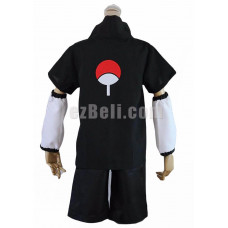 New! Naruto Sasuke Uchiha the 2nd Generation Black Cosplay Costume