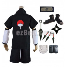 New! Naruto Sasuke Uchiha the 2nd Generation Black Cosplay Costume Set