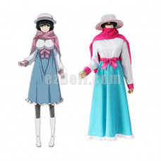 New! Game Steins; Gate Mayuri Shiina White Blue Dress Cosplay Costume Uniform