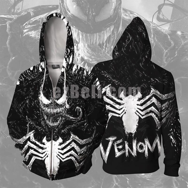 New! Movie Superhero Venom Hoodies Men Women Sweatshirts Spider-man Printed 3d Hip Hop Casual Hoodie Jacket