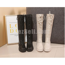 New! Black Beige Women Knee High Boots Shoes with Shoes Lace