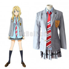 New! Your Lie In April Kaori Miyazono School Uniform Cosplay Costume