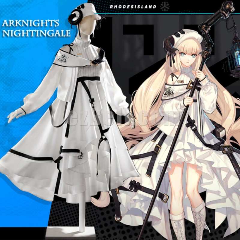 New! Game Arknights Nightingale White Dress Cosplay Costume