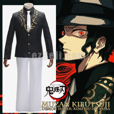 New! Anime Demon Slayer Kimetsu no Yaiba Kibutsuji Muzan Black Formal Suits Cosplay Costume