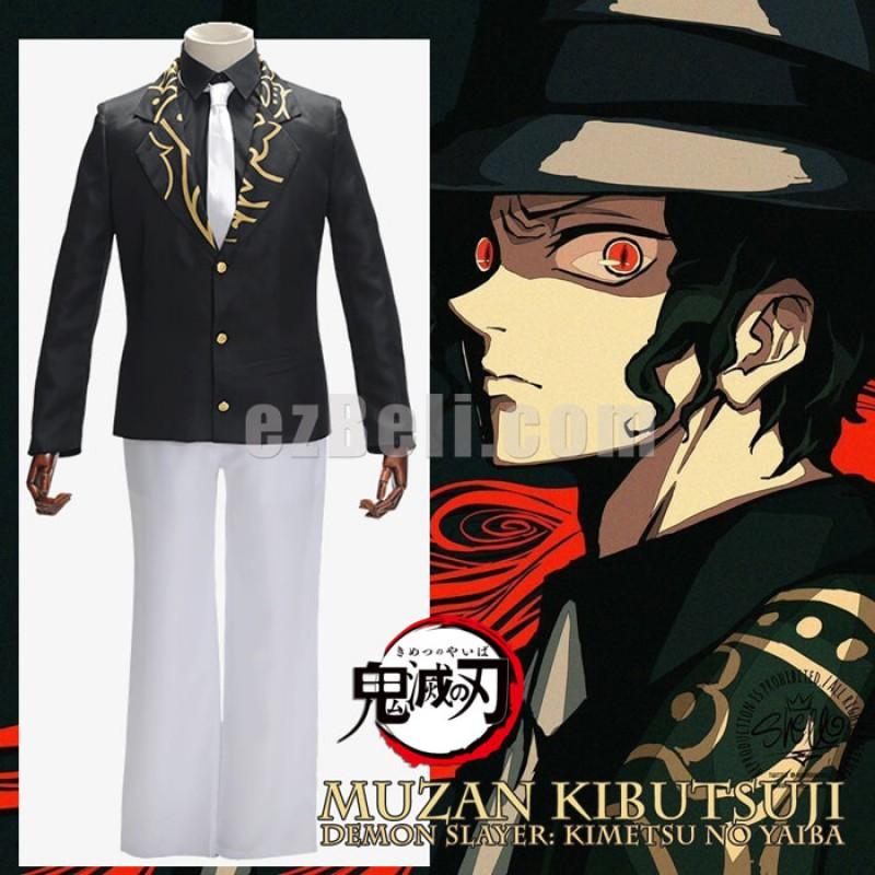 New! Anime Demon Slayer Kimetsu no Yaiba Kibutsuji Muzan Black Formal Suits Cosplay Costume