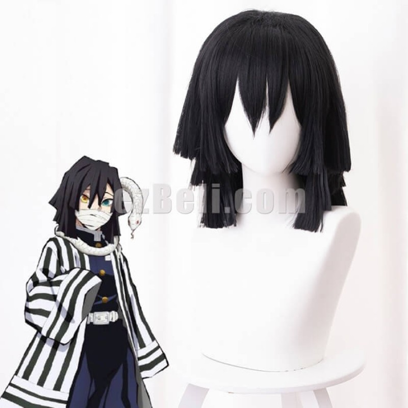 New! Anime Demon Slayer Kimetsu no Yaiba Obanai Iguro Snake Pillar Cosplay Wig