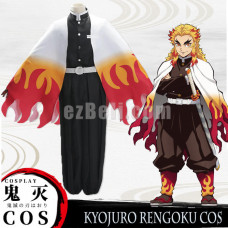 New! Anime Demon Slayer Kimetsu no Yaiba Rengoku Kyojuro Cosplay Costume