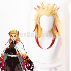 New! Anime Demon Slayer Kimetsu no Yaiba Rengoku Kyojuro Cosplay Wig
