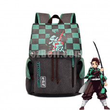 New! Anime Demon Slayer Tanjirou Kamado Green Backpack Shoulder Canvas Student School Bag