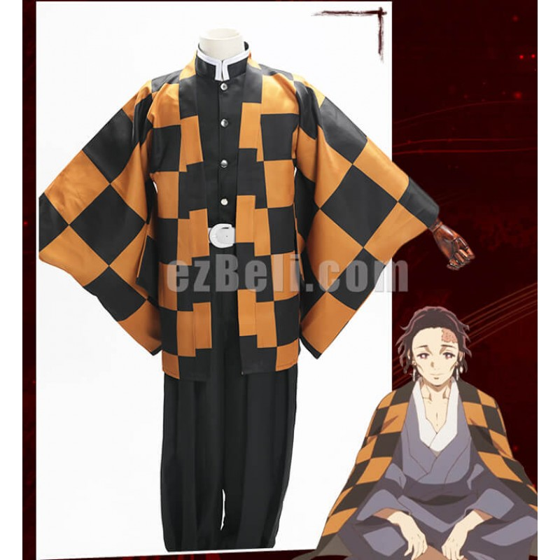 New! Anime Demon Slayer Kimetsu no Yaiba Tanjuro Kamado Cloak Cosplay Costume