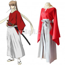 New! Gintama Okita Sougo Red Kimono Cosplay Costume