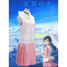 New! Anime Weathering with You Amano Hina Pink Skirt with necklace Cosplay Costume