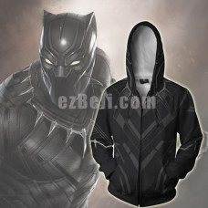New! Movie Black Panther Unisex Zip Up Hoodie Casual Cosplay Jacket