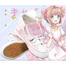 New! Anime Cardcaptor Sakura Pink White Canvas Shoes Casual Cosplay Sneakers