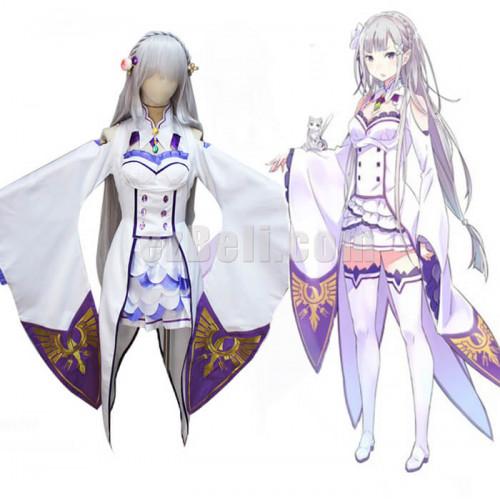 New Re Zero Kara Hajimeru Isekai Seikatsu Emilia Cosplay Costume