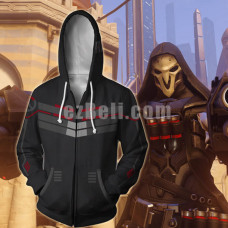 New! Game Overwatch Reaper Theme Zipper Hoodie Jacket