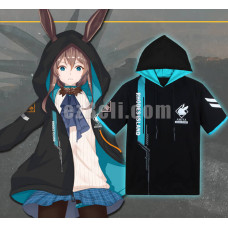 New! Game Arknights Amiya Black Blue Casual Cosplay Hoodie Zipped Jacket