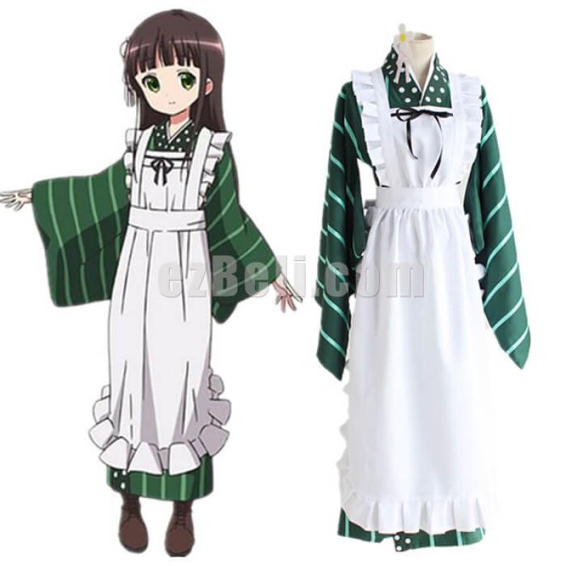 New! Anime Is The Order a Rabbit Chiya Ujimatsu Cafe Waitress Kimono Cosplay Costume
