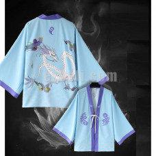 New! Movie Anime Nezha Ne Zha Blue Whilte Dragon Chiffon Pajamas Cloaks Casual Cosplay Yukata Kimono Coat Bathrobes