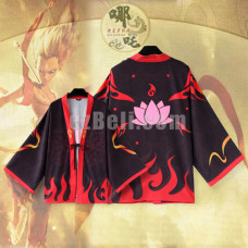 New! Movie Anime Nezha Ne Zha Red Black Chiffon Pajamas Cloaks Casual Cosplay Yukata Kimono Coat Bathrobes