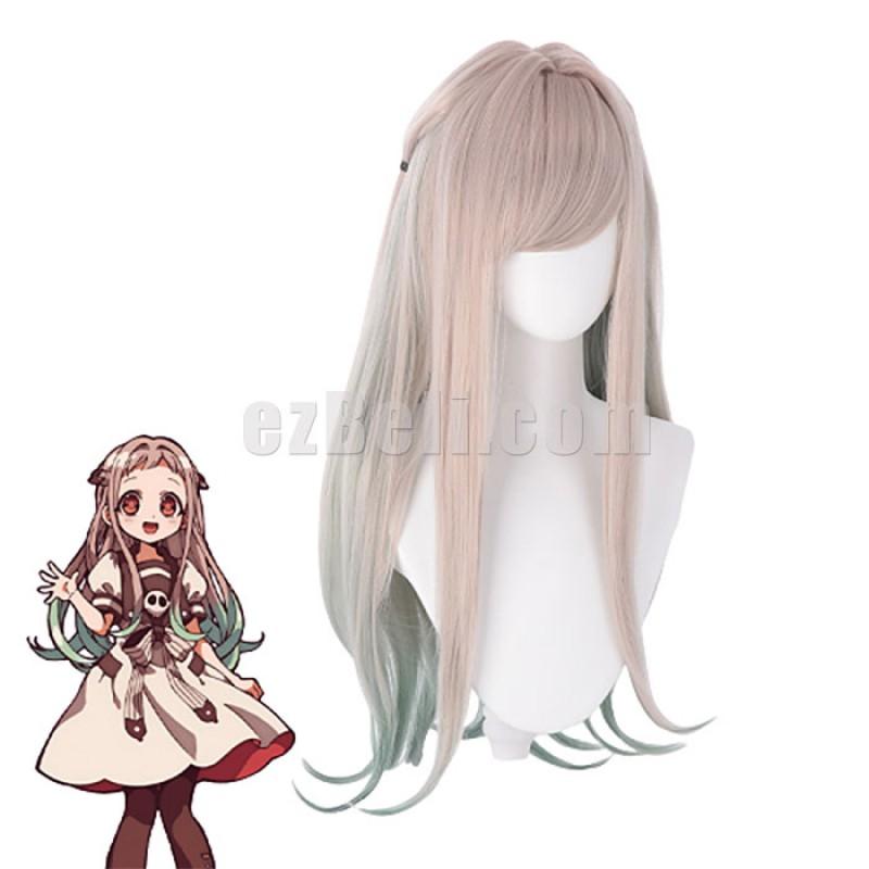 New! Nene Yashiro Cosplay Anime Toilet Bound Hanako Kun Jibaku Shounen Hanako-Kun Long Straight Grey Mixed Green Cosplay Wig